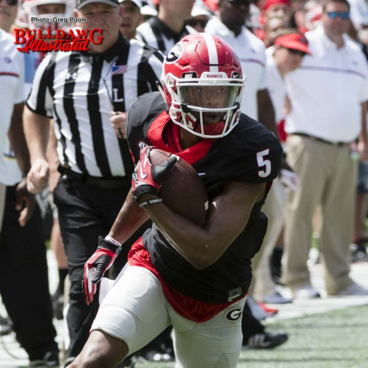 G-day's leading WR, Terry Godwin, with 5 catches for 130 yards