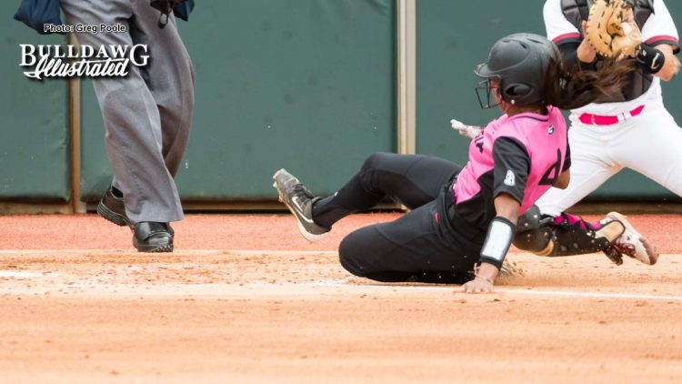 Ciara Bryan slides safely into home – Georgia vs. South Carolina – April 29, 2017