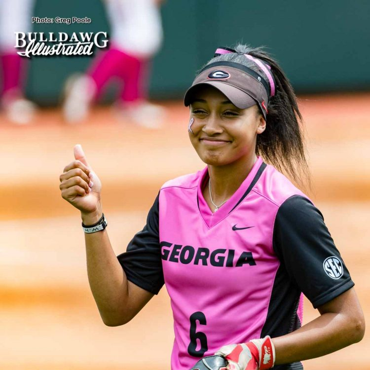 Sydni Emanuel with the thumbs up – Georgia vs. South Carolina – April 29, 2017