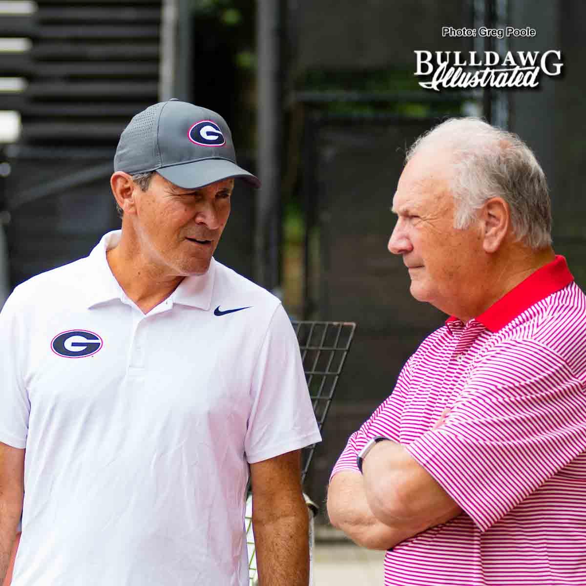Manuel Diaz (L) chats with former UGA head football coach Jim Donnan – NCAA regional – May 13, 2017