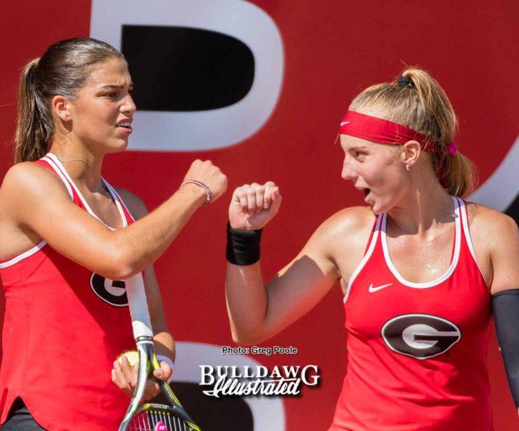 Elena Christofi (L) and Kennedy Shaffer – Georgia vs. Pepperdine – NCAA Round of Sixteen – May 19, 2017