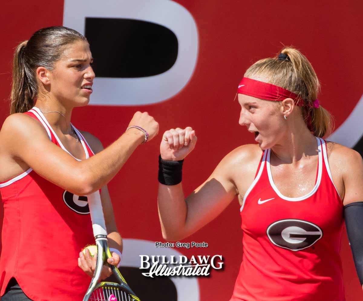 Elena Christofi (L) and Kennedy Shaffer - UGA Women's Tennis Team -