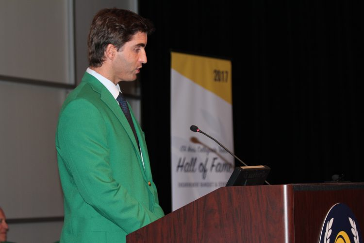 Matias Boeker speaks during his induction into the Intercollegiate Tennis Association Hall of Fame