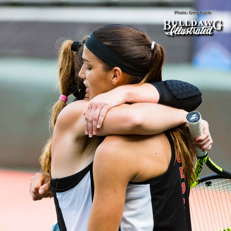 Kennedy Shaffer and Elena Christofi after their tough loss - NCAA Doubles Quarterfinals – May 27, 2017
