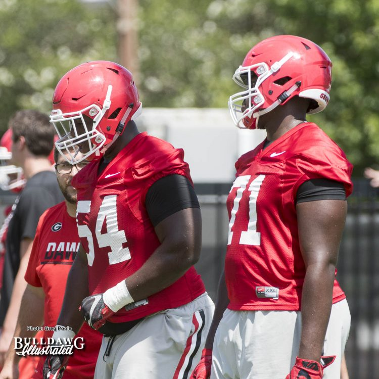 Justin Shaffer (54) and Andrew Thomas (71)