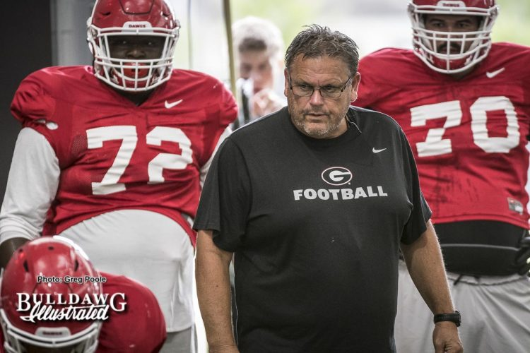 Offensive line coach Sam Pittman, Netori Johnson (72) and Aulden Bynum (70) – fall Camp Day 4 – August 3, 2017