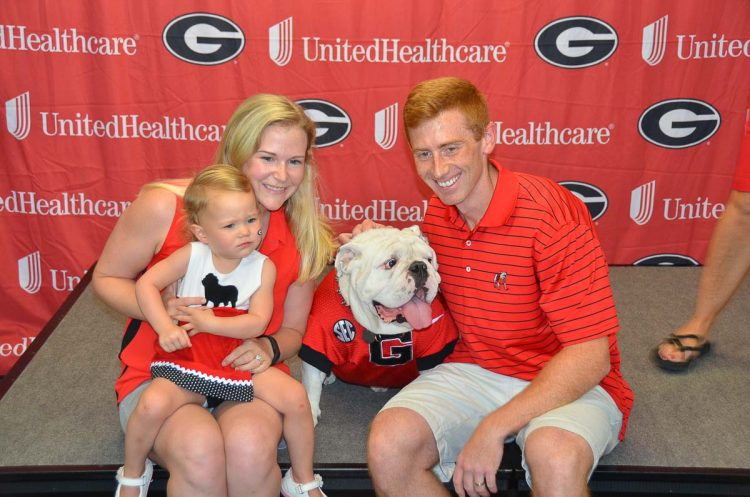 Hallie, Logan and Rick Rider with Uga X – Fan Day 2017