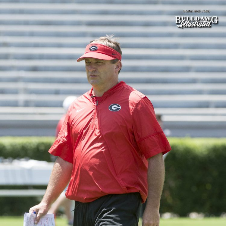 Kirby Smart looks on during the Bulldogs first scrimmage of Fall Camp - Saturday, August 12, 2017 -