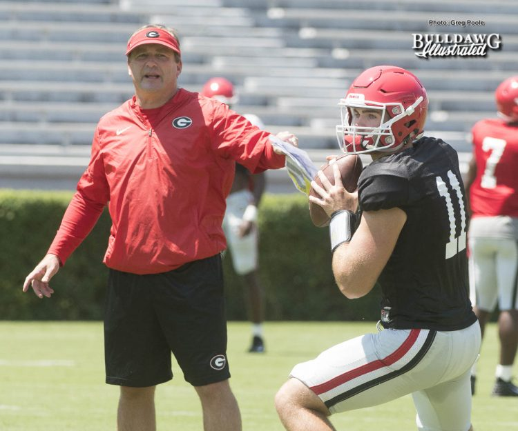 Kirby-Smart-looks-on-as-his-freshman-QB-Jake-Fromm-11-goes-through-drills-during-UGAs-second-scrimmage-of-Fall-Camp