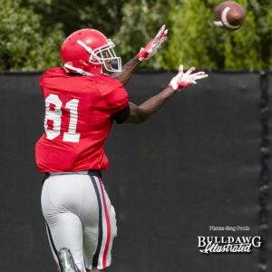 Mark Webb, Jr. (81) has his eyes on the prize - UGA football practice, Monday, Aug. 28, 2017 -