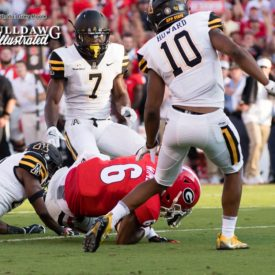 Javon Wims (6) hangs on for the tough catch in traffic - Appalachian State vs. UGA - Saturday, Sept. 2, 2017