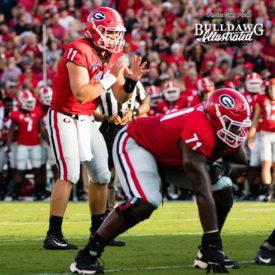 "Jake Fromm (11) awaits the snap from center Lamont Gaillard (not shown), freshman RT Andrew Thomas (71) ready to keep his QB ""upright and clean"" - Appalachian State vs. UGA - Saturday, Sept. 2, 2017"