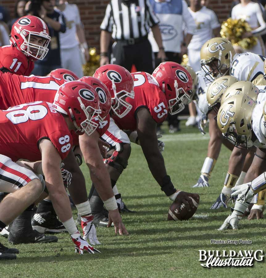 Georgia dominated the day in the trenches versus Georgia Tech, defeating the Yellow Jackets 38-7 in the 112th meeting of Clean Old-Fashioned Hate on Saturday, Nov. 25, 2017 in Atlanta at Bobby Dodd Stadium.