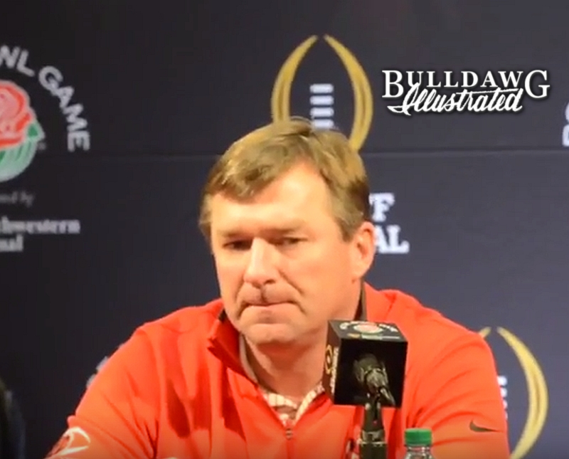 Kirby Smart during his Saturday morning Rose Bowl press conference on Dec. 30, 2017