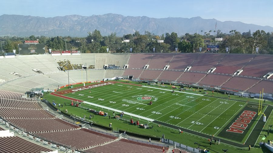 A stunning view from the press box at the historic Rose Bowl - Monday, 2018-Jan-01 (Photo by Murray Poole)