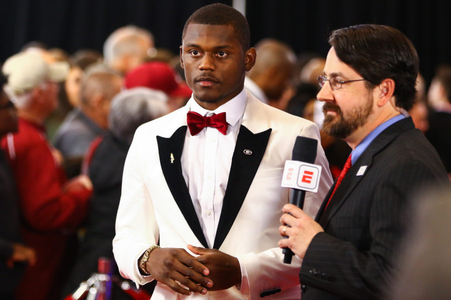 Georgia defensive back Deandre Baker (18) walks the red carpet at the 2018 Home Depot College Football Awards in Atlanta, Ga., on Thursday, Dec. 6, 2018. (Photo by Kristin M. Bradshaw)