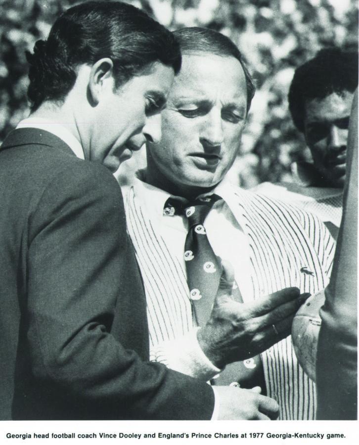Vince Dooley with Prince Charles, 1977 Georgia vs. Kentucky game.