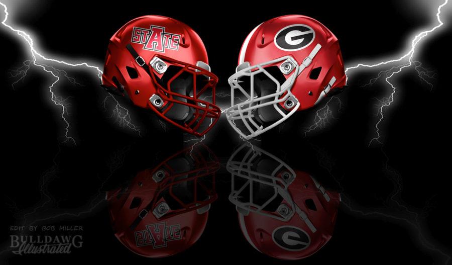 UGA vs. Arkansas State helmet graphic edit by Bob Miller