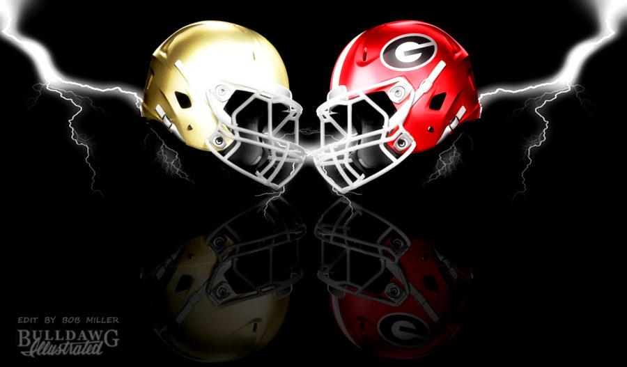 Georgia Bulldogs vs Notre Dame Fighting Irish helmet edit by Bob Miller