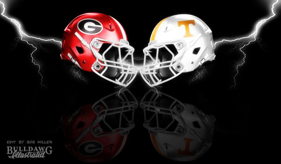 Georgia vs. Tennessee helmet graphic edit by Bob Miller