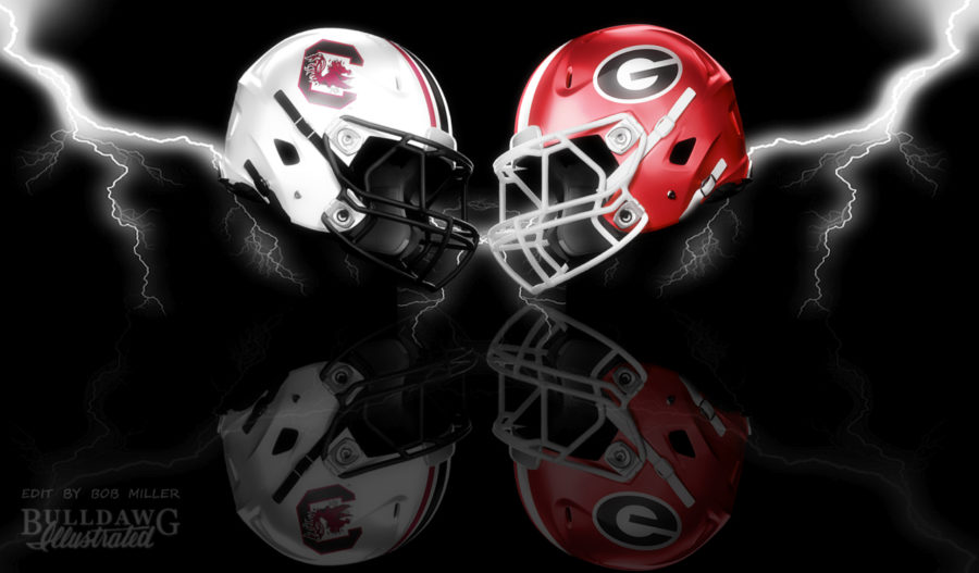 Georgia vs. South Carolina 2019 helmet graphic edit by Bob Miller