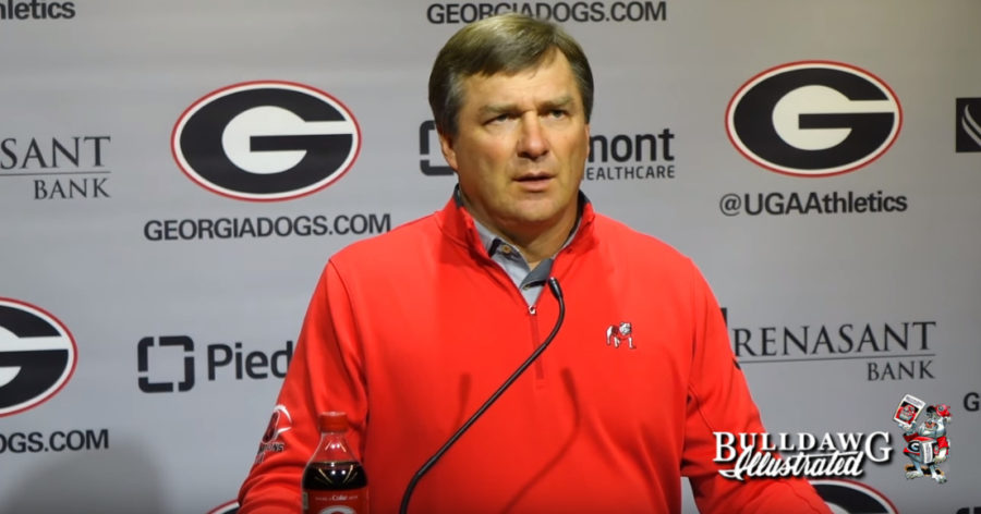 Kirby Smart during his Monday, October 14, 2019 press conference for Georgia vs. Kentucky