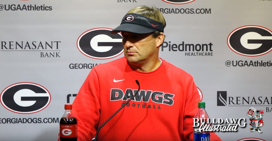 Kirby Smart during his Tuesday, October 15, 2019 press conference for Georgia vs. Kentucky
