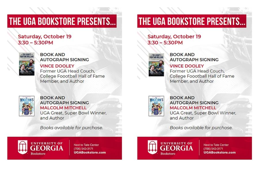 Footer AD: UGA Bookstore book and autograph signing for UK vs. UGA 2019