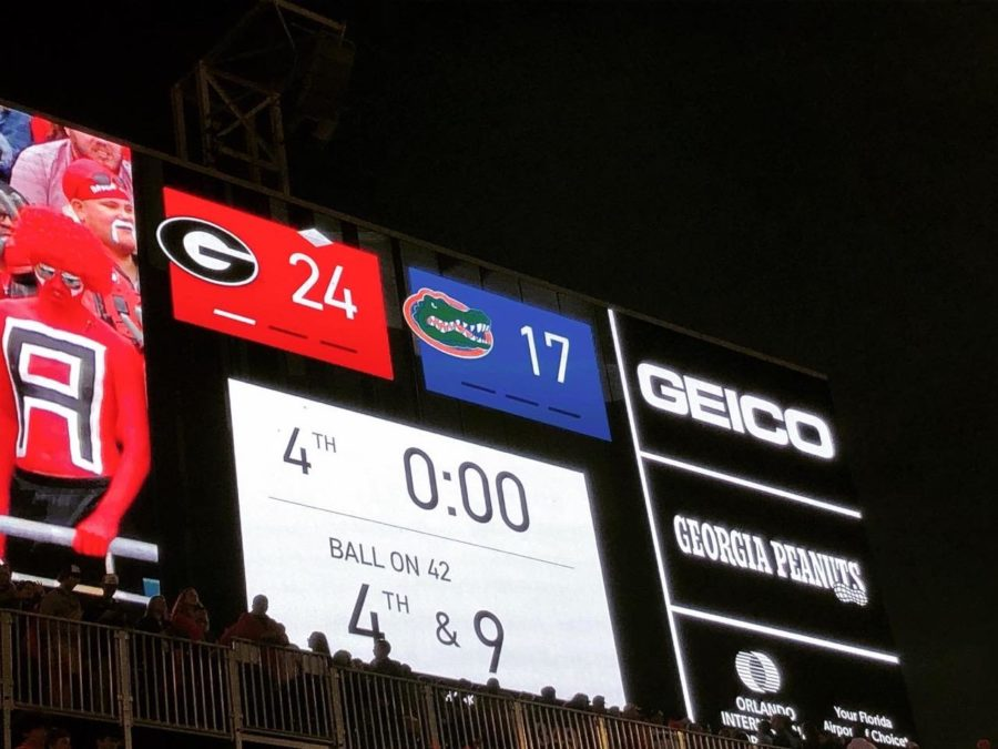 Georgia on top of Florida 24-17, Photo by Lance McCurley