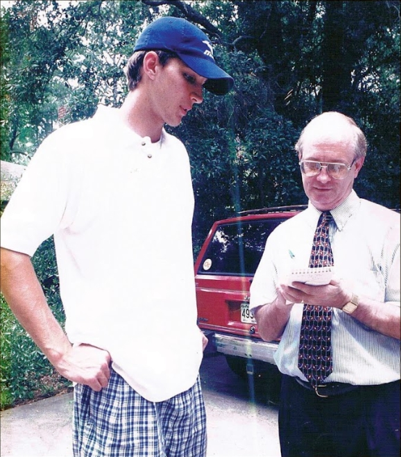 Murray Poole (right) interviewing Adam Wainwright (left)