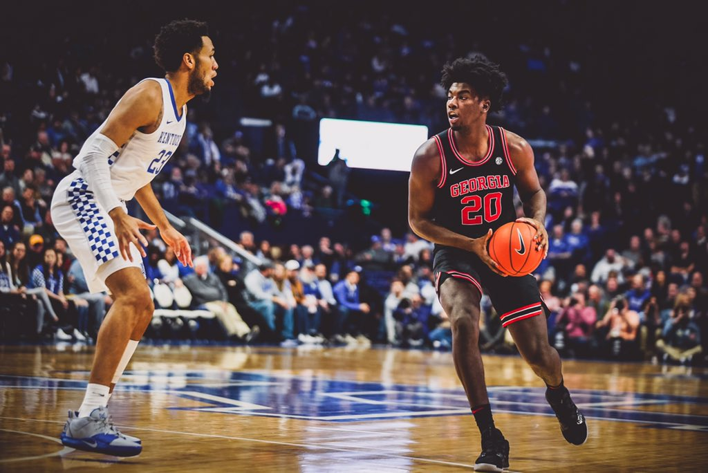 Georgia's Rayshaun Hammonds (20) driving against Kentucky's EJ Montgomery (23) in the second half on Jan. 21st, 2020.