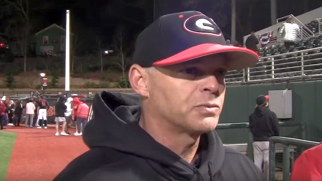 UGA baseball head coach Scott Stricklin during the Georgia vs Richmond postgame interview on Friday, February 14, 2020