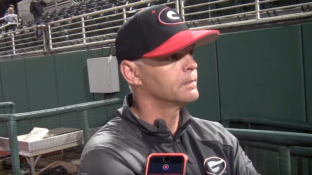 UGA baseball head coach Scott Stricklin during the Kennesaw State postgame interview on Tuesday, February 25, 2020
