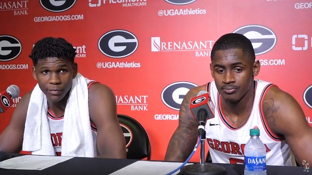 UGA men's basketball student-athletes Anthony Edwards and Jordan Harris during the Georgia vs. Florida postgame interviews on Wednesday, March 4, 2020