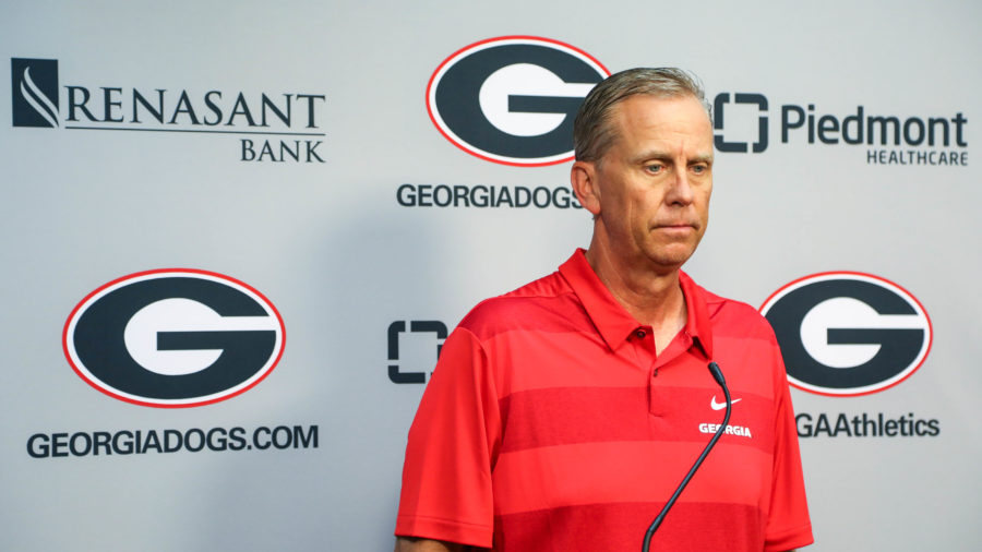 Georgia offensive coordinator and quarterbacks coach Todd Monken during a press conference via Zoom in Athens, Ga., on Tuesday, Aug. 25, 2020. (Photo by Chamberlain Smith)