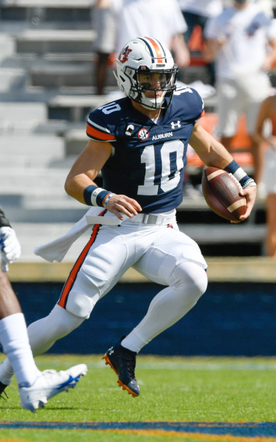 Sep 30, 2020; Auburn, AL, USA; Bo Nix (10) rushes for 8 yards during the game between Auburn and Kentucky at Jordan-Hare Stadium. Mandatory Credit: Todd Van Emst/AU Athletics