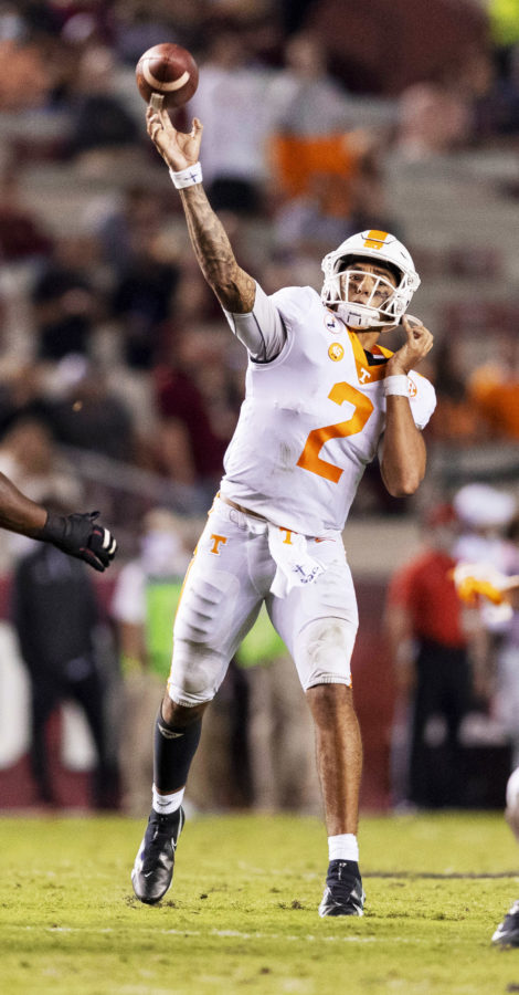 COLUMBIA, SC - SEPTEMBER 26, 2020 - Quarterback Jarrett Guarantano #2 of the Tennessee Volunteers during the game between the South Carolina Gamecocks and the Tennessee Volunteers at Williams-Brice Stadium in Columbia, SC. Photo By Andrew Ferguson/Tennessee Athletics