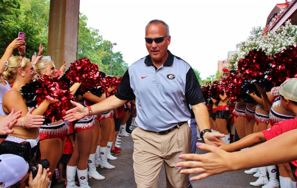 Coach Mark Richt - Dawg Walk for Louisiana-Monroe 05-Sept-2015 - (Photo by Rob Saye)