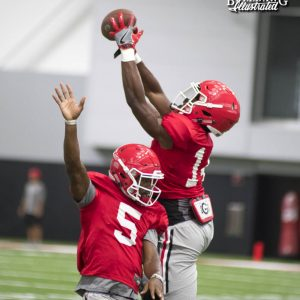 Terry Godwin (5) and Trey Blount (14) - Wednesday, August 9, 2017 – fall camp