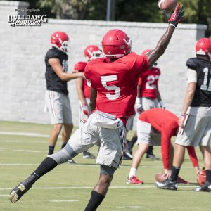 Terry Godwin (5) doing his Odell Beckham, Jr. impersonation during practice on Tuesday - UGA Fall Camp - Practice No. 20 - August 22, 2017